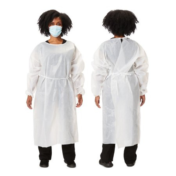 Protective Procedure Gown One Size Fits Most White NonSterile Disposable 45 GSM fabric