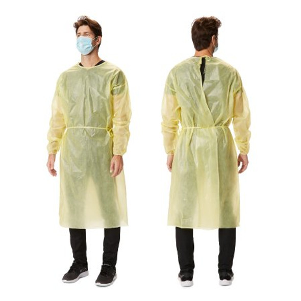 Protective Procedure Gown X-Large Yellow NonSterile AAMI Level 1 Disposable 30 GSM fabric