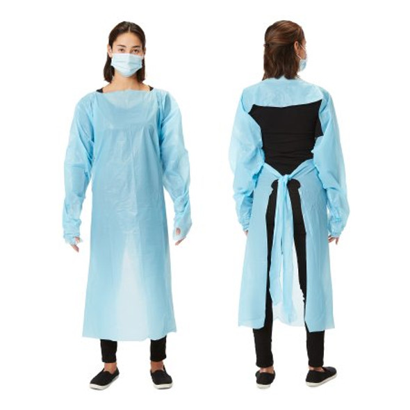 Over the Head Protective Procedure Gown One Size Fits Most Blue NonSterile Disposable