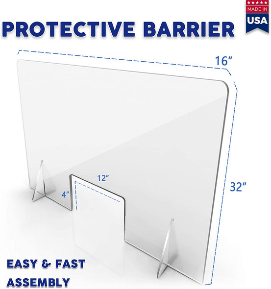 "Sneeze Guard Freestanding Clear Acrylic Shield with Cutout Transaction Window Barrier (24""W x 16""T 1/8' thk)"