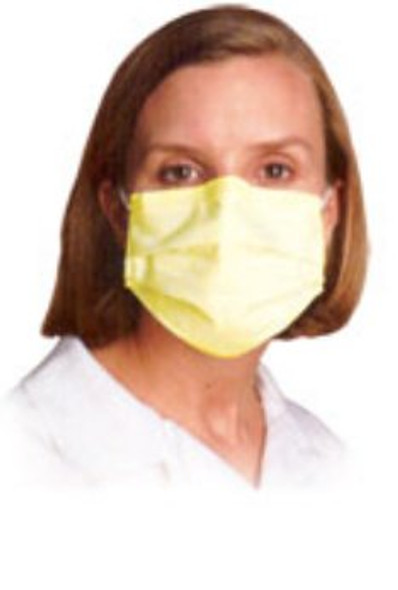 Procedure Mask Pleated Earloops One Size Fits Most Yellow NonSterile ASTM Level 1  (BX/50)