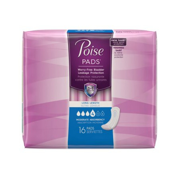 Bladder Control Pad Poise® 12.4 Inch Length Moderate Absorbency Polymer Regular Female Disposable