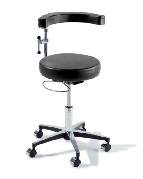 Air Lift Surgeon Stool Ritter® 279 Classic Series Backrest Air Lift, Pneumatic Height Adjustment, Hand Controlled, 8 Inch Hand Ring 5 Casters Latte
