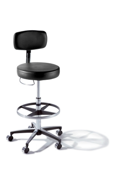 Air Lift Stool Ritter® 277 Classic Series Backrest Air Lift, Pneumatic Height Adjustment, Hand Controlled, 8 Inch Hand Ring 5 Casters Latte