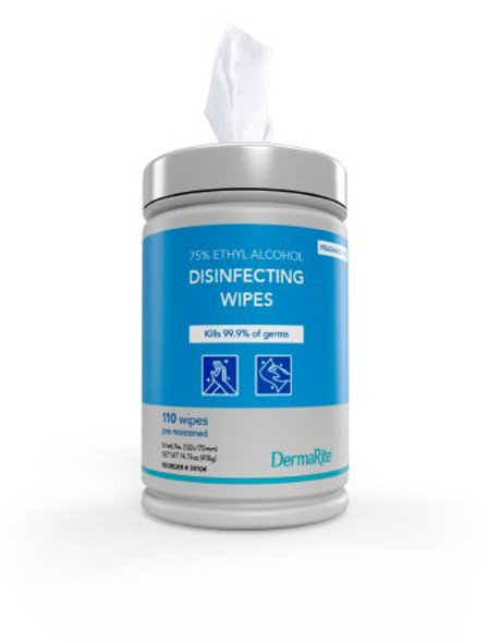 Hand Sanitizing Wipe DermaRite® 110 per Pack Ethyl Alcohol Wipe Canister