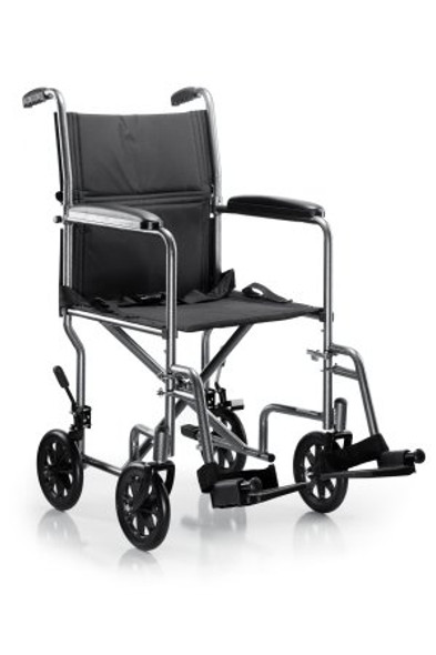 Lightweight Transport Chair Steel Frame with Silver Vein Finish 250 lbs. Weight Capacity Fixed / Padded Arm Black