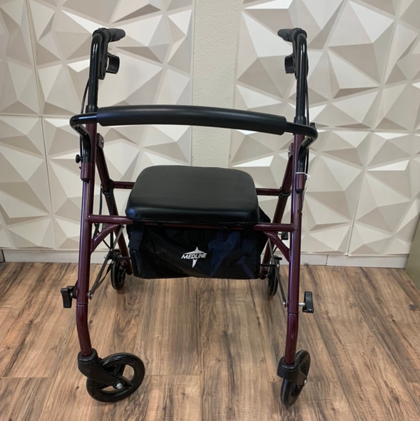 "Steel Rollator Walker, Folding Rolling Walker, 6"" Wheels, 350lb Weight Capacity, Burgundy Red"
