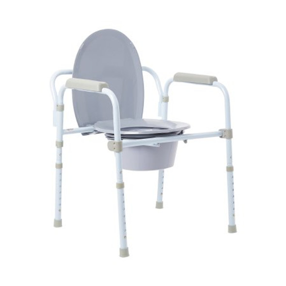 Folding Commode Chair McKesson Fixed Arm Steel Frame Back Bar 13-3/4 Inch Seat Width
