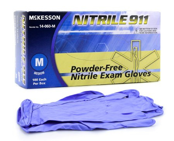 Exam Glove NonSterile Nitrile Blue 6.7 mil Powder Free 100 Count