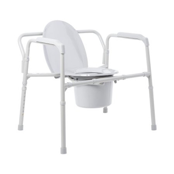 Folding Commode Chair McKesson Fixed Arm Steel Frame Back Bar 13-3/4 Inch Seat Width (650 weight capacity)