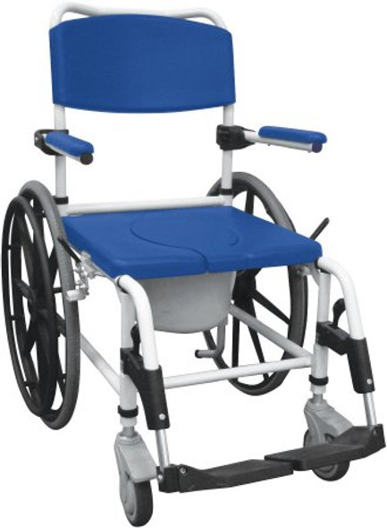 Commode / Shower Chair drive™ Padded Fixed Arm Aluminum Frame Padded Back