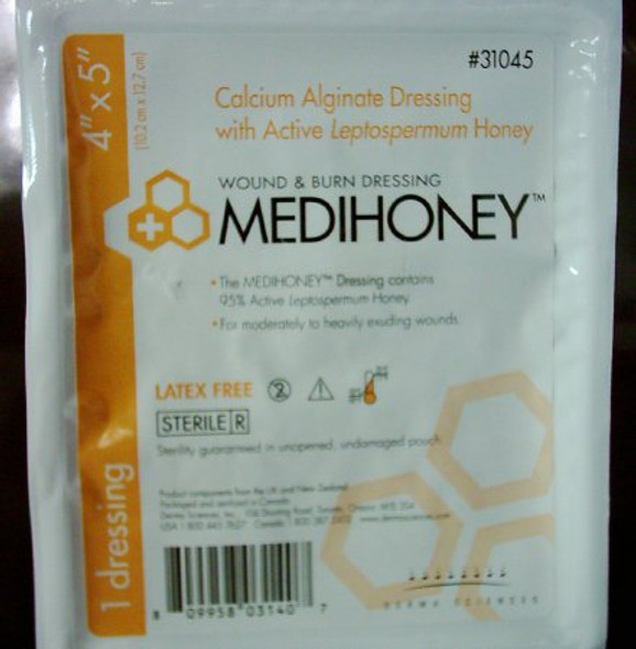 Calcium Alginate Dressing MEDIHONEY® 4 X 5 Inch Rectangle Calcium Alginate / Active Leptospermum Honey Sterile