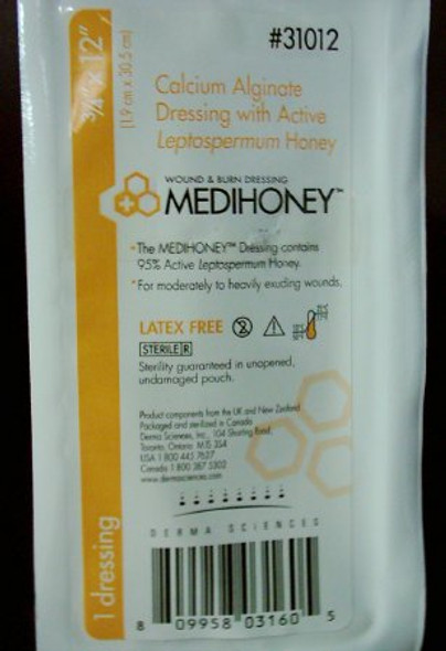 Calcium Alginate Dressing MEDIHONEY® 0.75 X 12 Inch Rope Calcium Alginate / Active Leptospermum Honey Sterile