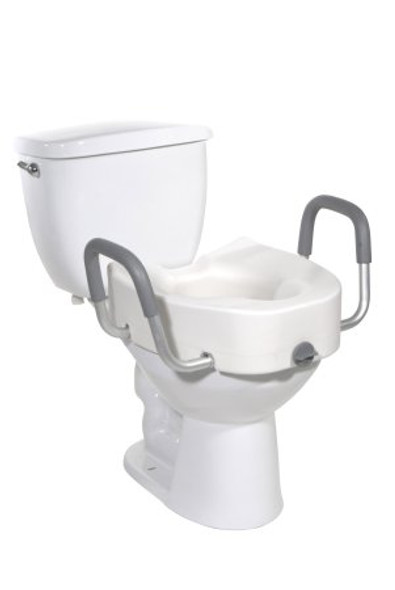 Raised Toilet Seat with Arms - Elongated drive™ 4-1/2 Inch Height White 300 lbs. Weight Capacity 300 lbs. Weight Capacity