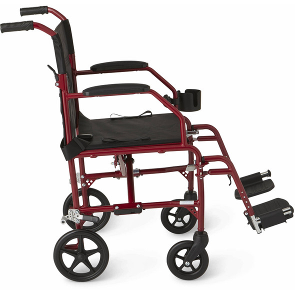 Medline Ultralight Transport Wheelchair with 19 Wide Seat, Folding Transport Chair with Permanent Desk-Length Arms, Red Frame- Open Box