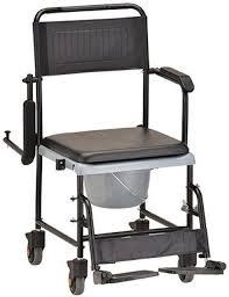 NOVA Drop Arm Transport Chair Commode, Rolling with Locking Wheels & Removable Padded Seat - Open Box