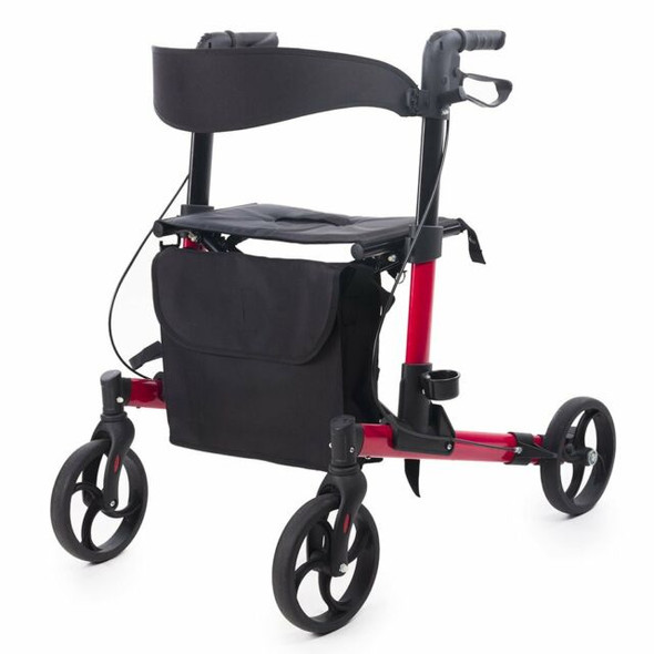 ELENKER LightWeight Rollator Walker, Foldable Compact Stable Rolling Walker with Seat, Detachable Storage Bag, Red -Open Box