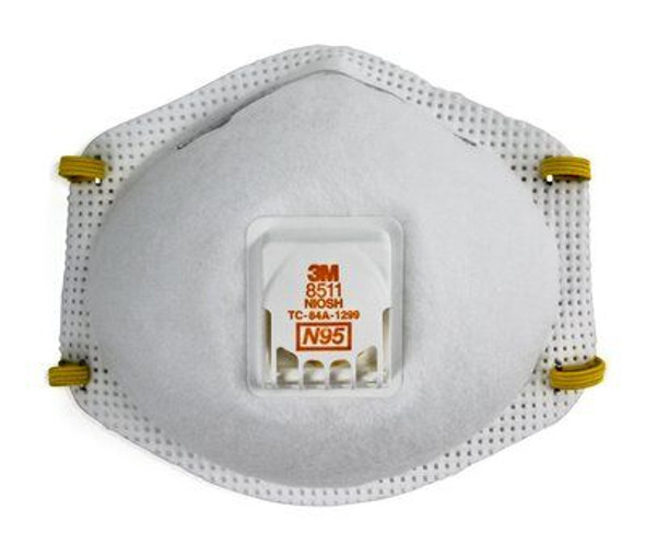 Particulate Respirator Mask 3M™ N95 Cup Elastic Strap One Size Fits Most White NonSterile 10/box