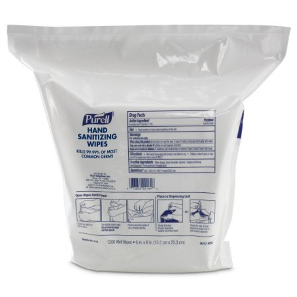 Sanitizing Skin Wipe Purell® Refill Pouch BZK (Benzalkonium Chloride) Alcohol Scent 1,200 Count