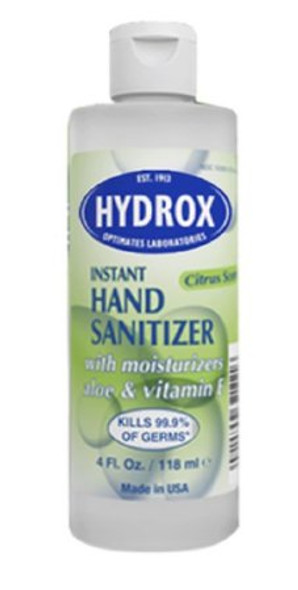 Hand Sanitizer Hydrox 4 oz. Ethyl Alcohol Liquid Bottle