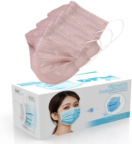 Disposable Face Cover 3-Ply Filter Non Medical Breathable Earloop Masks (Pink Plaid)  1pc