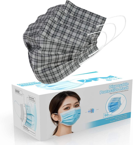 Disposable Face Cover 3-Ply Filter Non Medical Breathable Earloop Masks (Black  Plaid)  1pc