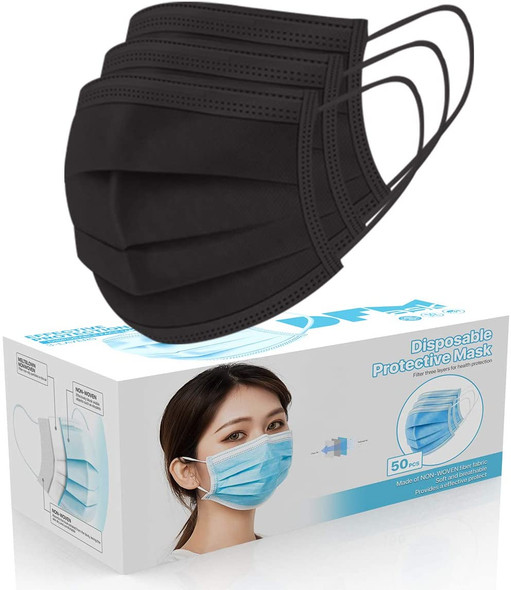 Disposable Face Cover 3-Ply Filter Non Medical Breathable Earloop Masks (Black )  1pc