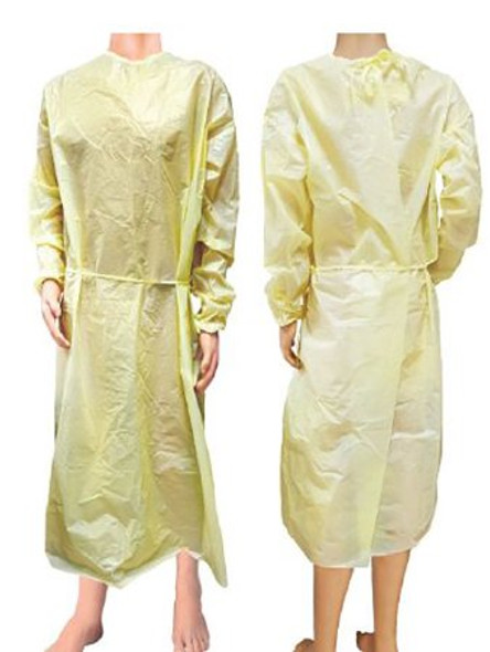 Protective Procedure Gown Large Yellow NonSterile AAMI Level 1 Disposable