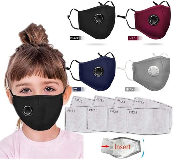 Washable Face Mask for Children- Cotton with Breathing valve With Activated Carbon Filter