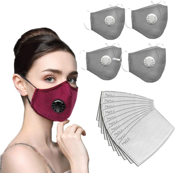 Grey Washable Masks w/valve and filter (4 pack)