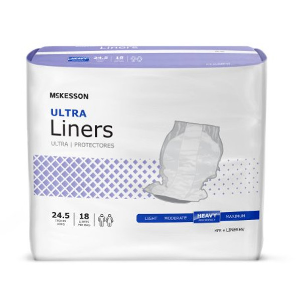 Incontinence Liner McKesson Ultra 24-1/2 Inch Length Heavy Absorbency Polymer Core One Size Fits Most Adult Unisex Disposable