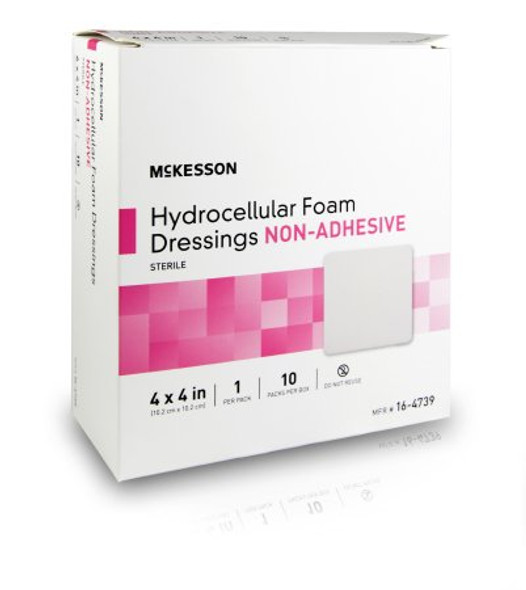 Foam Dressing McKesson 4 X 4 Inch Square Non-Adhesive without Border Sterile