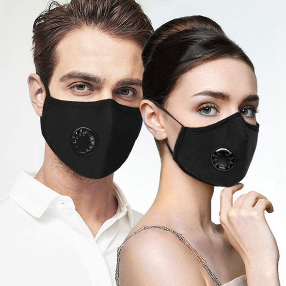Protective Mask with 1 Cotton Filter Sheet, Washable Reusable Protection Cover with Breathing Valve-Black
