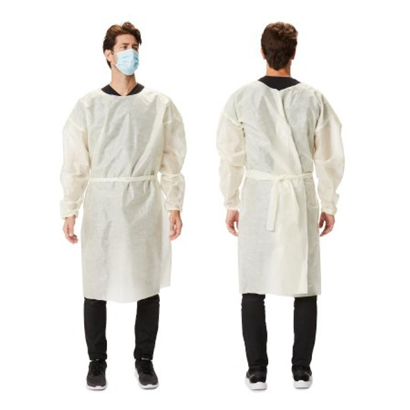 Over-the-Head Protective Procedure Gown X-Large Yellow NonSterile AAMI Level 2 Disposable 23 GSM fabric