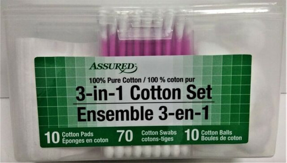 Assured 100% 3-in-1 Pads Pink Swabs & Balls Pure Cotton Office Home Travel Set