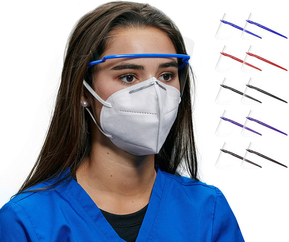 Eye Shields - Multicolored Disposable Eye Safety Protection Glasses, Transparent, Anti-Fog in 5 Colors
