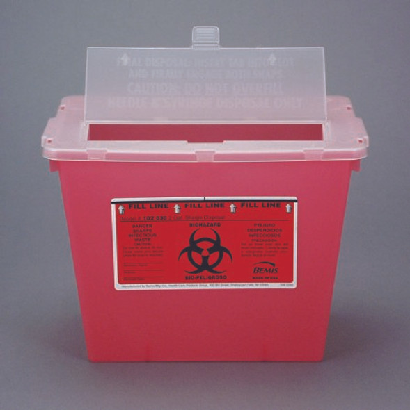 Phlebotomy Sharps Container Bemis™ Sentinel 1-Piece 2 Gallon Red Vertical Entry Lid