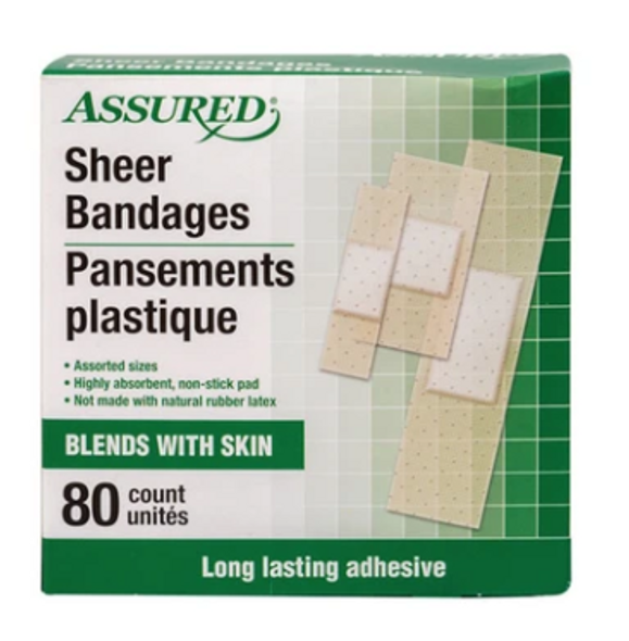 Assured Assorted Sheer Bandages, 80-ct. Boxes - Assorted Sizes - Blends With Skin