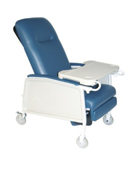 3-Position Recliner McKesson Blue Vinyl Upholstered Four 5 Inch Casters With 2 Locks
