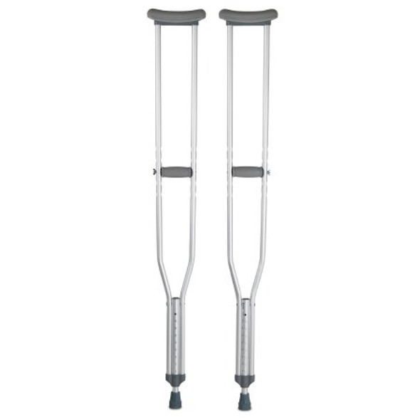 Underarm Crutches McKesson Aluminum Frame Tall Adult 350 lbs. Weight Capacity Push Button / Wing Nut Adjustment