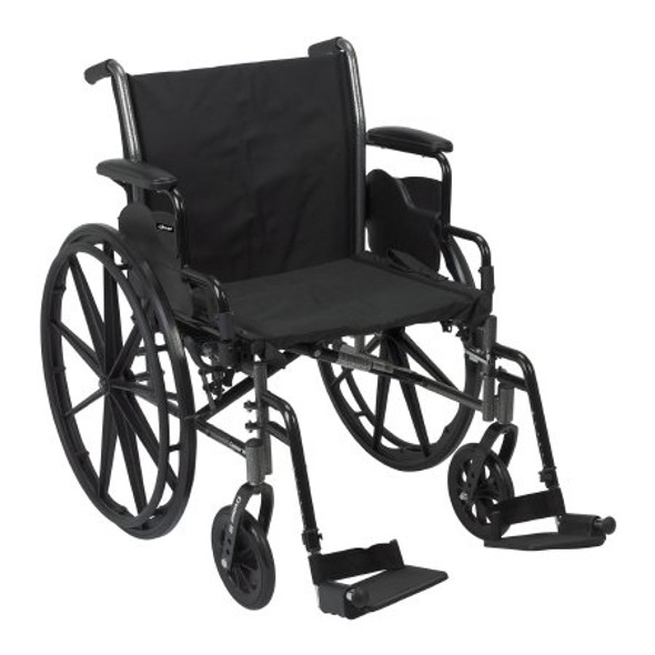 Lightweight Wheelchair McKesson Dual Axle Desk Length Arm Flip Back / Removable Padded Arm Style Composite Mag Wheel Black Upholstery 20 Inch Seat Width 300 lbs. Weight Capacity