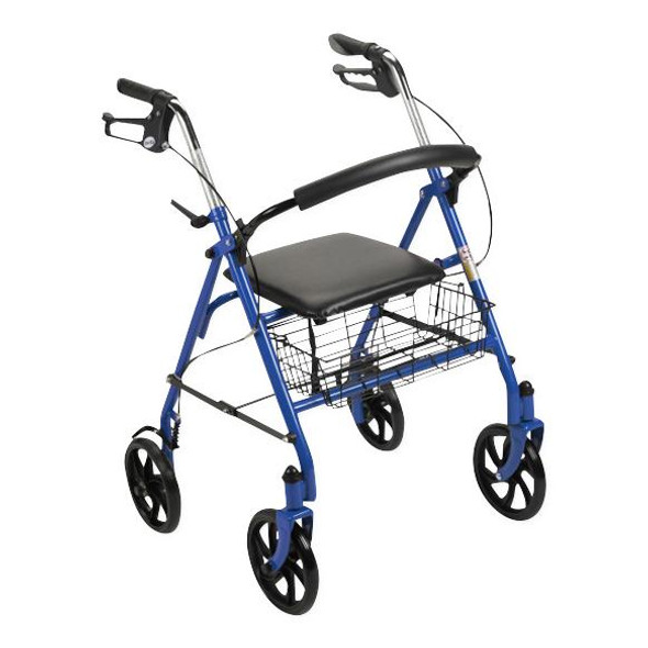 Red Four-Wheel Rollator with Fold-Up Back Support