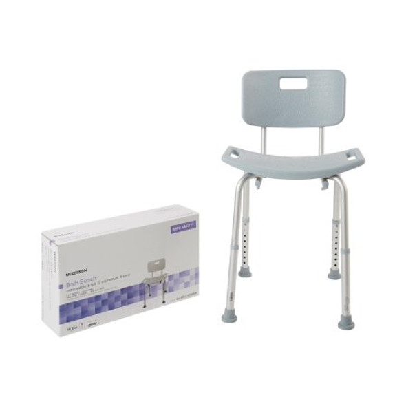 Bath Bench McKesson Fixed Handle Aluminum Frame Removable Back 15-1/2 to 19-1/2 Inch Height BENCH, BATH W/BACK ALUM FRAME 400LBS