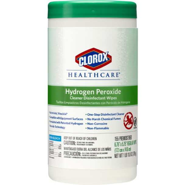 Surface Disinfectant Cleaner Clorox Healthcare® Hydrogen Peroxide Premoistened Wipe 155 Count NonSterile Canister Disposable Unscented