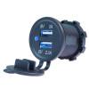 Panel Mount Power Outlet, Dual 5 Volt USB, 2.1A,  1A,  12 Volt Input