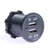 Panel Mount Power Outlet, Dual 5 Volt USB, 2.1A,  2.1A,  12 Volt Input