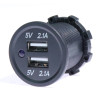 Panel Mount,  Dual 5V USB Charger, 2.1A + 2.1A, 12/24 VDC Input