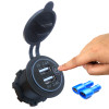 Panel Mount Dual USB Charger Outlet, 5 V, 2.4 A, 2.4 A with Touch Switch, Display, Blue LED, 12 Volt, 10 A