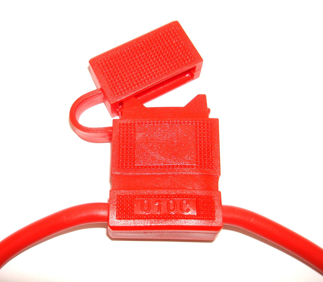 In-Line Fuse Holders with Cap - Red Body, Red 12 AWG Wire. For ATO Style Automotive Fuses