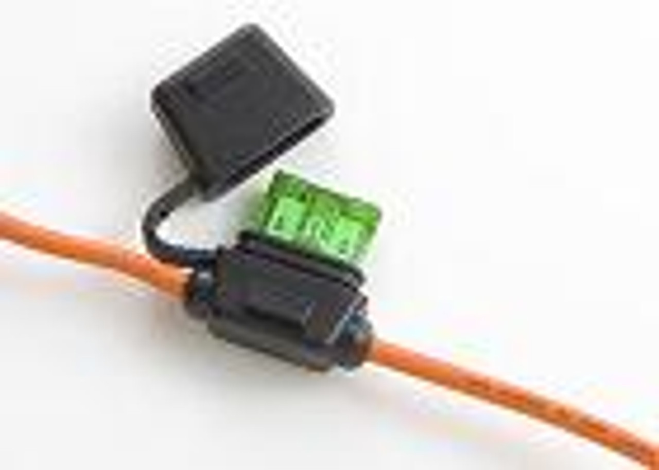In-Line Fuse Holders with Cap - Black Body, Black 16 AWG Wire. For ATO Style Automotive Fuses